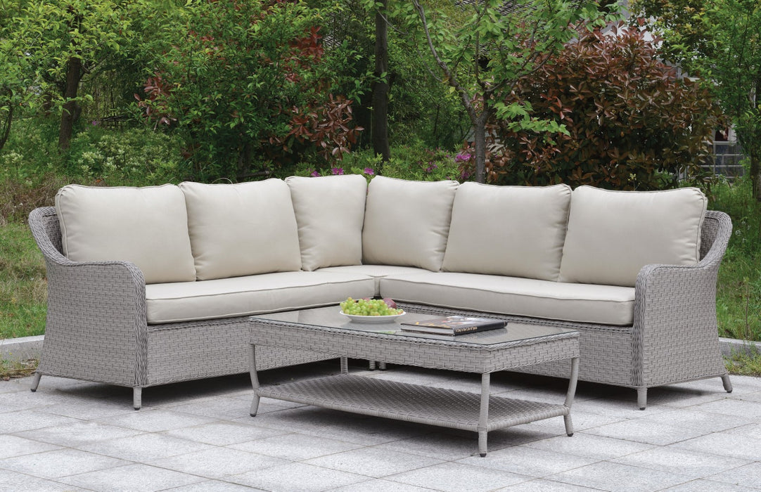 Cogswell Gray/Beige Patio Sectional w/ Coffee Table image