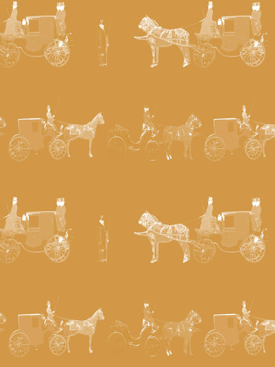 Carriages - Curcuma Yellow - Wallpaper - Milola Design
