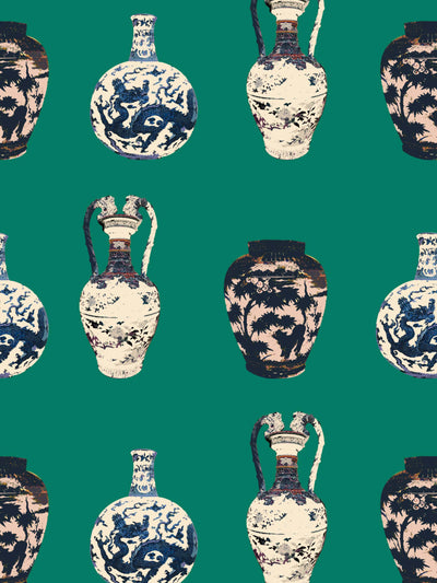 Chinese Vase - Emerald Green - Wallpaper - Milola Design