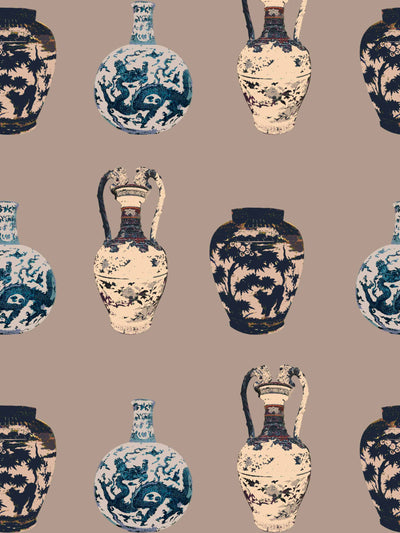 Chinese Vase - Minx - Wallpaper - Milola Design