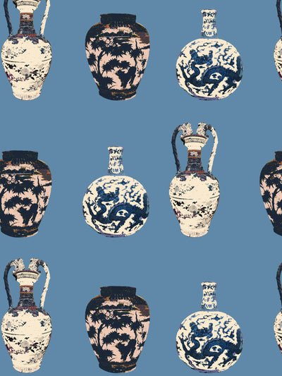 Chinese Vase - Smoke Blue - Wallpaper - Milola Design