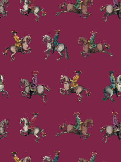 Riding School - Cerise - Wallpaper - Milola Design