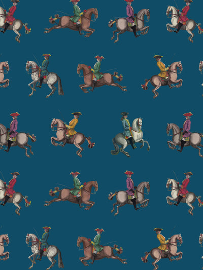 Riding School - Petrol Blue - Wallpaper - Milola Design