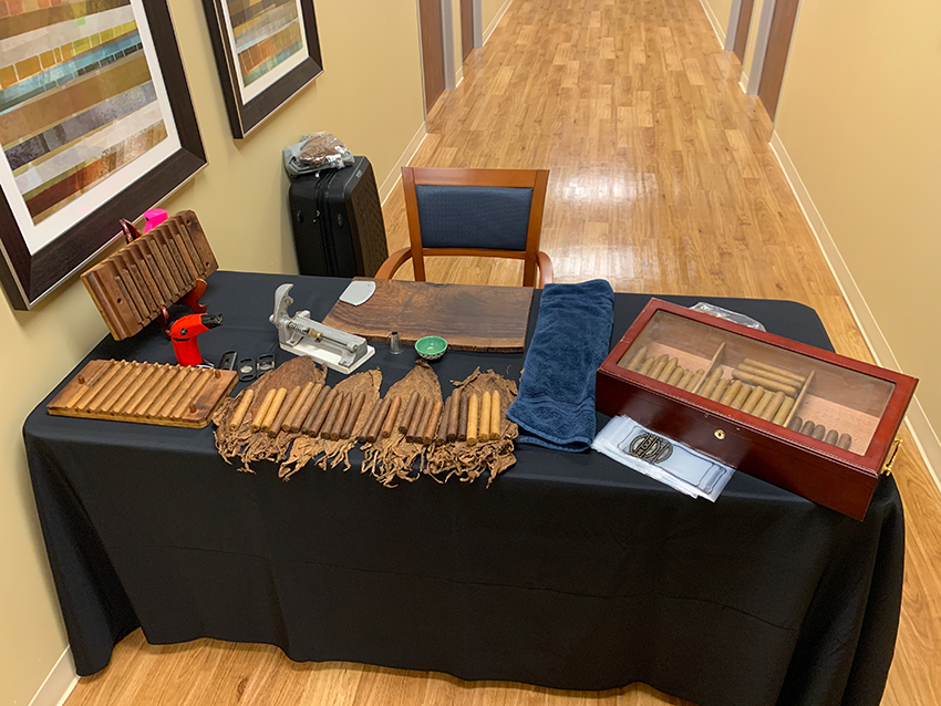 cigar roller table at event