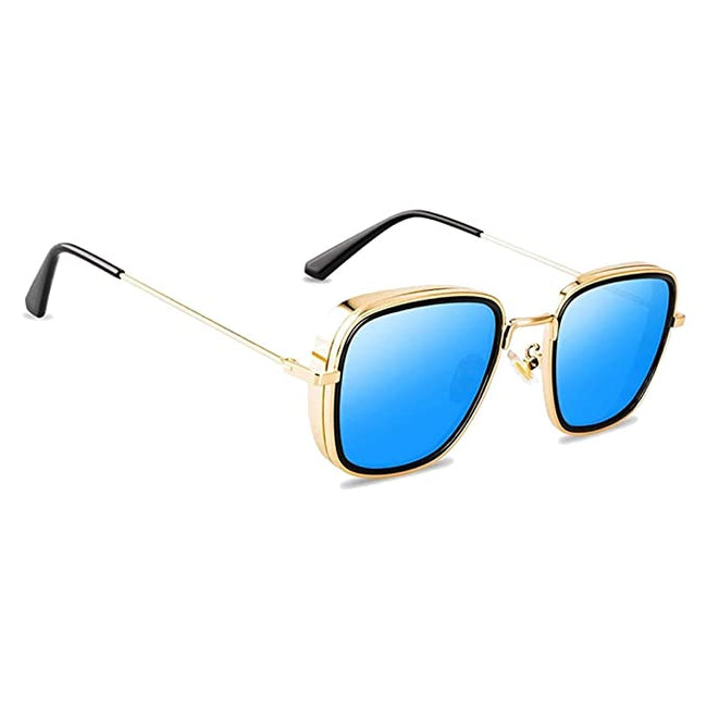 Resist- Rectangle Sunglasses- Gold/Blue