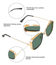 Load image into Gallery viewer, Rectangle Sunglasses-  Gold/Brown