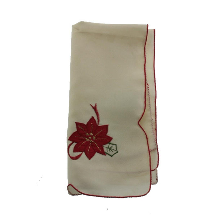Home Wear Merry Poinsettia Embroidered Christmas Napkin