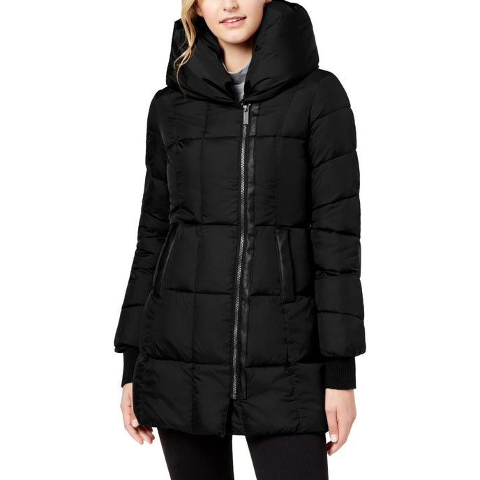 French Connection Women's Quilted Asymmetrical Hem Hooded Winter Puffer Coat