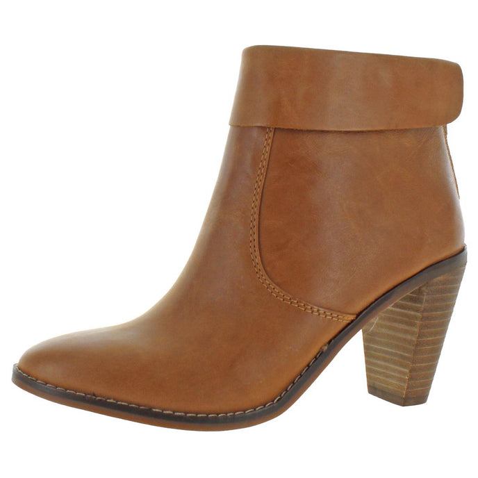 Lucky Brand Women's Nycott Leather Fold-Over Stacked Heel Ankle Bootie