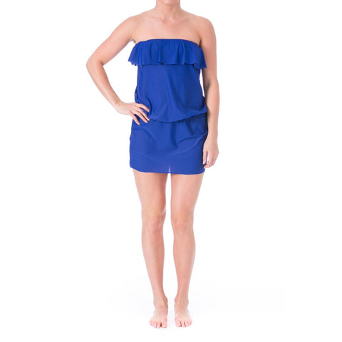 Eco Swim Womens Strapless Ruffled Dress Swim Cover-Up