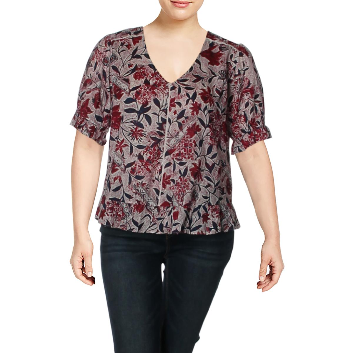 Lucky Brand Womens Printed Puff Sleeve Blouse