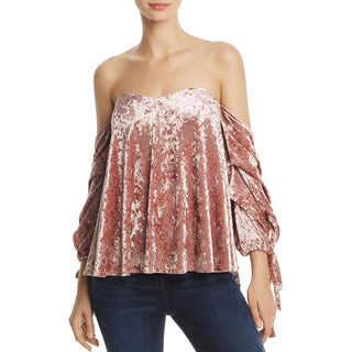 Do + Be Womens Velvet Off-The-Shoulder Casual Top
