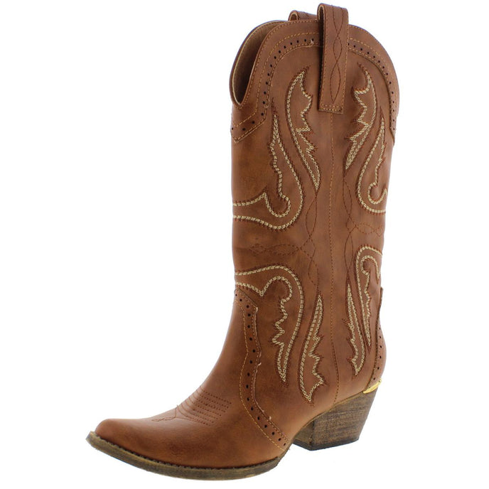 Very Volatile Raspy Women's Vegan Leather Mid-Calf Western Cowgirl Boots