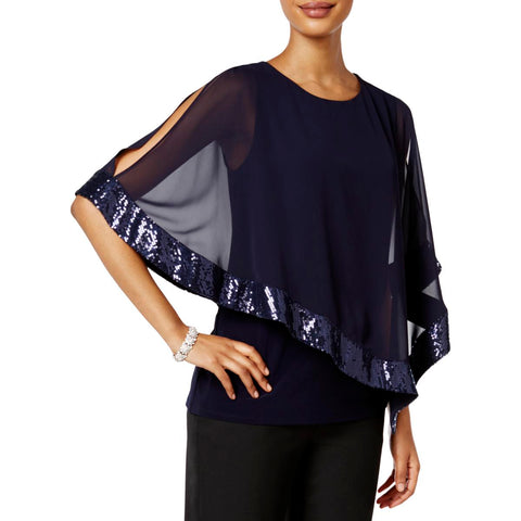 MSK Womens Asymmetrical Sequined Pullover Top