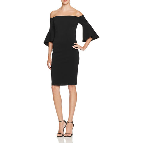 Laundry by Shelli Segal Womens Crepe Off-The-Shoulder Cocktail Dress