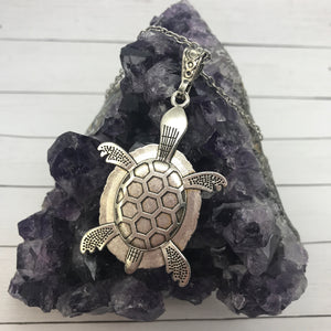 Abstract Purple Turtle Fluid Art Necklace