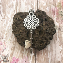 Load image into Gallery viewer, Boho Pink Vintage Silver Key Necklace