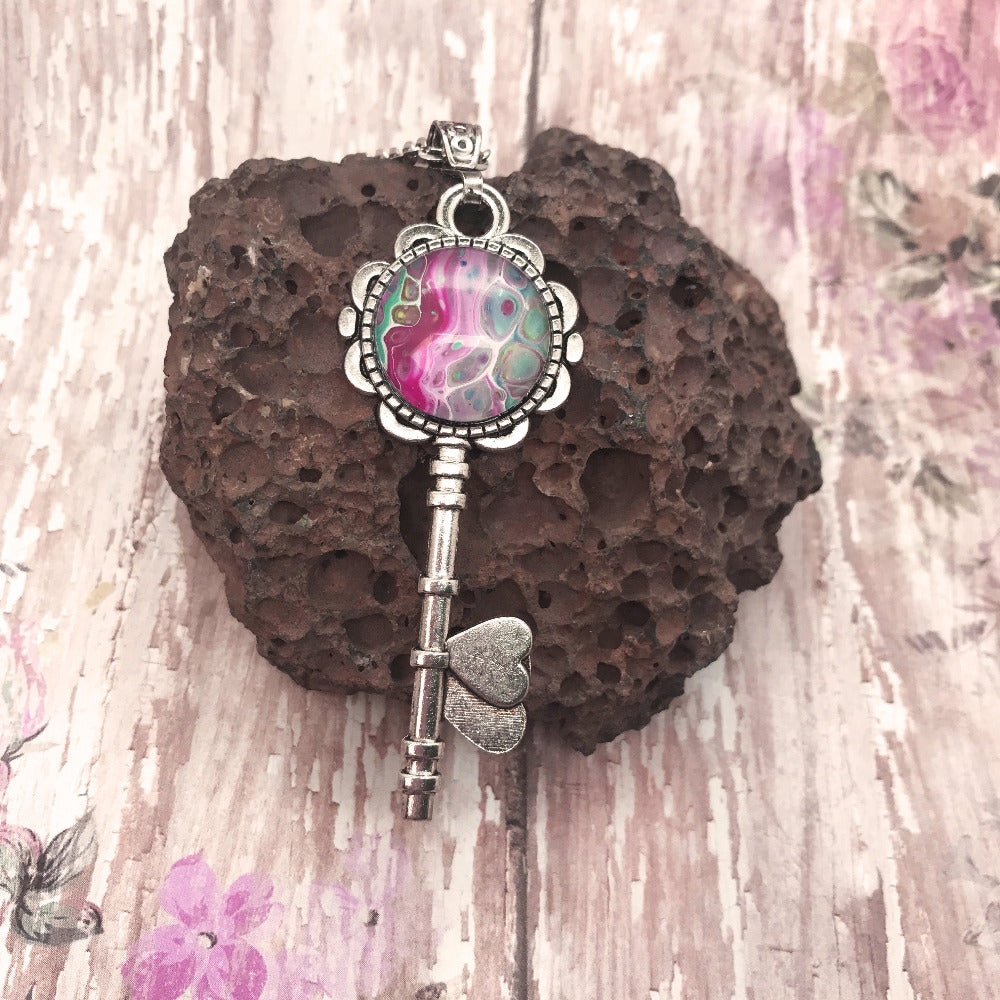 Boho Pink Vintage Silver Key Necklace