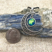 Load image into Gallery viewer, Crescent Moon Blue Green Boho Necklace