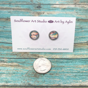 """Coral Blush"" Wearable Art Stud Earrings"