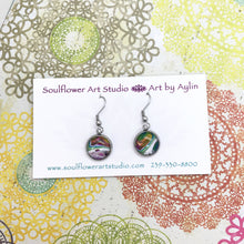 "Load image into Gallery viewer, ""Abstract Planets"" Wearable Art Dangle Earrings"