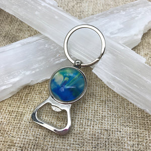 Blue Green Artsy Keychain & Bottle Opener