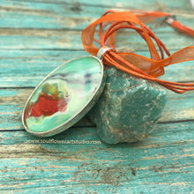 Load image into Gallery viewer, Seafoam Green & Orange Wearable Art Necklace