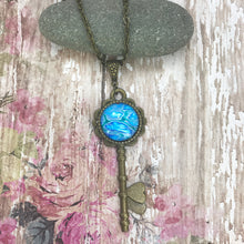 Load image into Gallery viewer, Blue Vintage Key Art Necklace