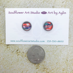 """Orange Sorbet"" Abstract Art Earrings"