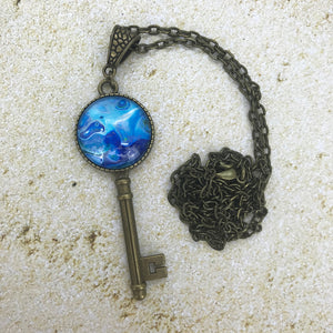 Frozen Blue Vintage Key Necklace