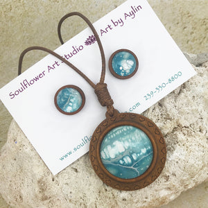 Blue Abstract Boho Wooden Necklace & Earring Set