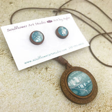Load image into Gallery viewer, Blue Abstract Boho Wooden Necklace & Earring Set