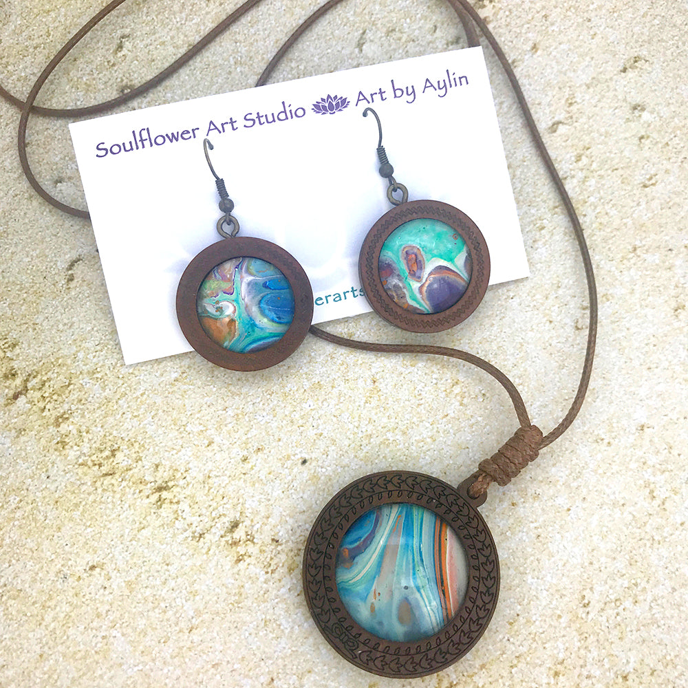 Blue Green Orange Boho Wooden Necklace & Earrings Set