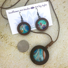Load image into Gallery viewer, Blue Green Orange Boho Wooden Necklace & Earrings Set