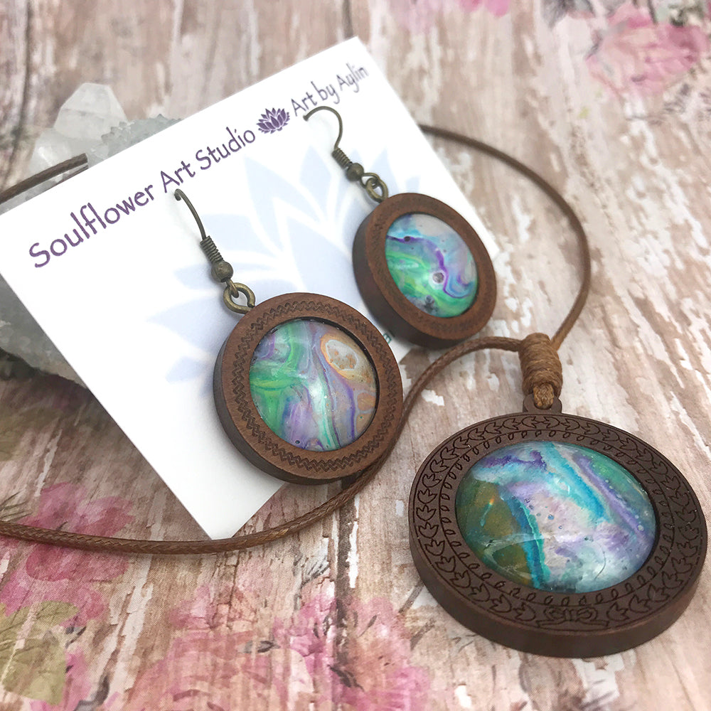 Lucid Dreams Boho Wooden Necklace & Earrings Set
