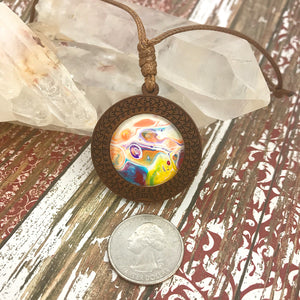 Happy Vibes Boho Abstract Art Wood Necklace