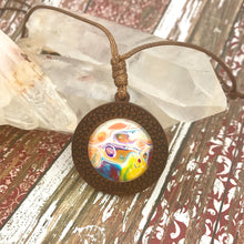 Load image into Gallery viewer, Happy Vibes Boho Abstract Art Wood Necklace