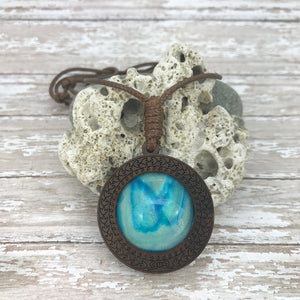 Blue Lagoon Boho Abstract Art Wood Necklace