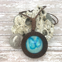 Load image into Gallery viewer, Blue Lagoon Boho Abstract Art Wood Necklace