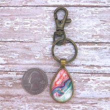 Load image into Gallery viewer, Coral Pearl Drop Fluid Art Keychain