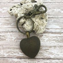 Load image into Gallery viewer, Om Shanti Red Artsy Heart Keychain