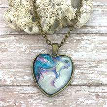 Load image into Gallery viewer, Blue White Heart Fluid Art Necklace