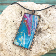 Load image into Gallery viewer, Floral View Turquoise Magenta Abstract Art Necklace