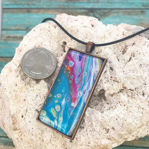 Floral View Turquoise Magenta Abstract Art Necklace