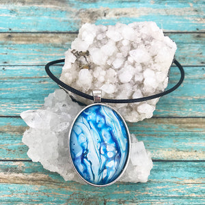 Turquoise Waterfalls Fluid Art Necklace