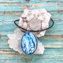 Load image into Gallery viewer, Turquoise Waterfalls Fluid Art Necklace