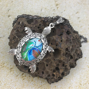 Blue Green Turtle Fluid Art Necklace