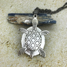 Load image into Gallery viewer, Blue Green Turtle Fluid Art Necklace