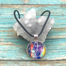 Load image into Gallery viewer, Purple Blue Orange Fluid Art Necklace