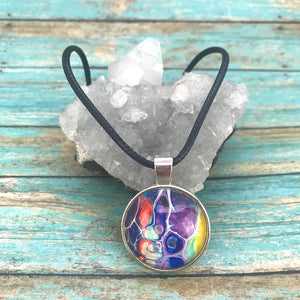 Purple Blue Orange Fluid Art Necklace